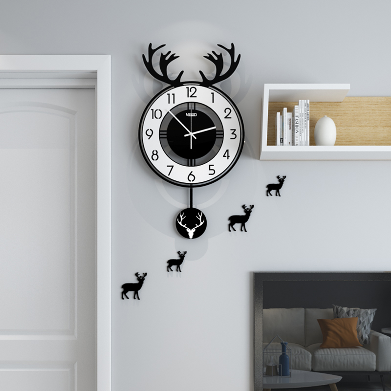 MEISD Original Design Deer Antlers Swingable Wall Clock Modern Design Home Decor Hanging Clocks With Wall Stickers Free Shipping