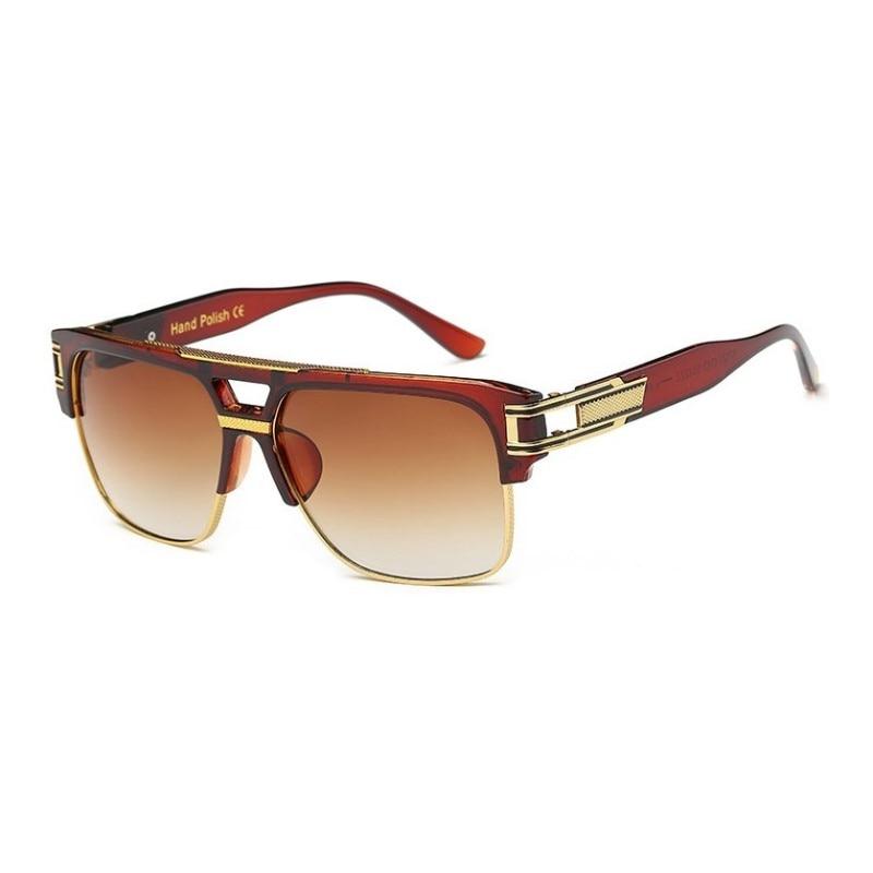 Square Vintage Retro Mens Glasses Black Mirrored Fashion Designer Sunglasses