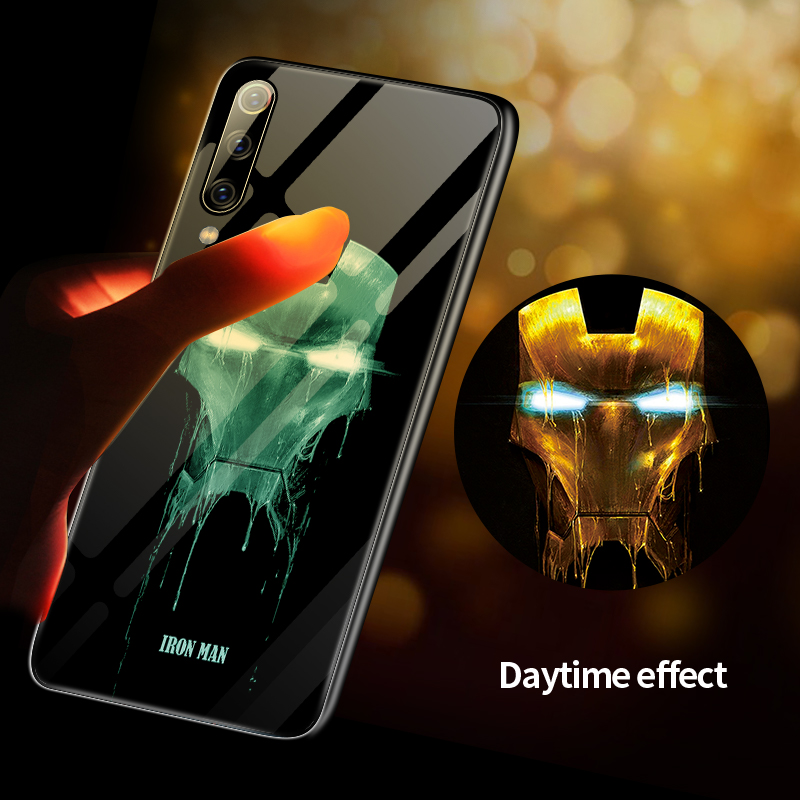 Marvel Iron Man Venom Luminous Glass Phone Case For Xiaomi Mi 8 9 SE F1 Lite Redmi Note 4 5 6 7 8 Pro Plus Captain America Cover-in Fitted Cases from Cellphones & Telecommunications