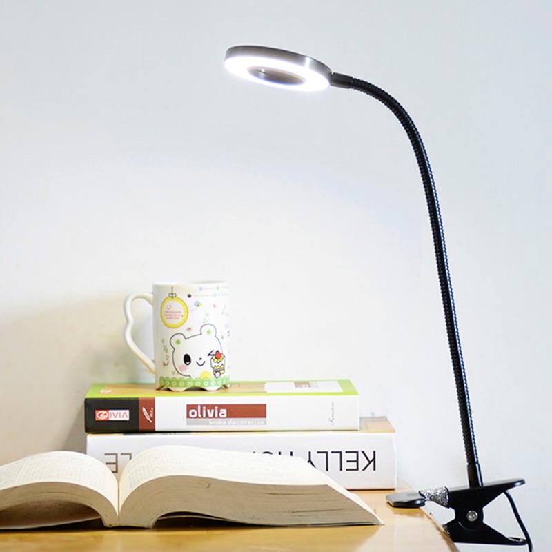 Fonkin Clip Table Lamp Usb LED Office Desk Lamp Dimmable Flexible Gooseneck Book Light For Study Reading 5DV 6W Aluminum 90808