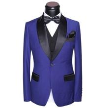 Wedding Suits For Men 2017 Latest Coat Pants Vest Tie Handkerchief Design Morning Suit Round Collar Slim Fit Black-tie Dress Set