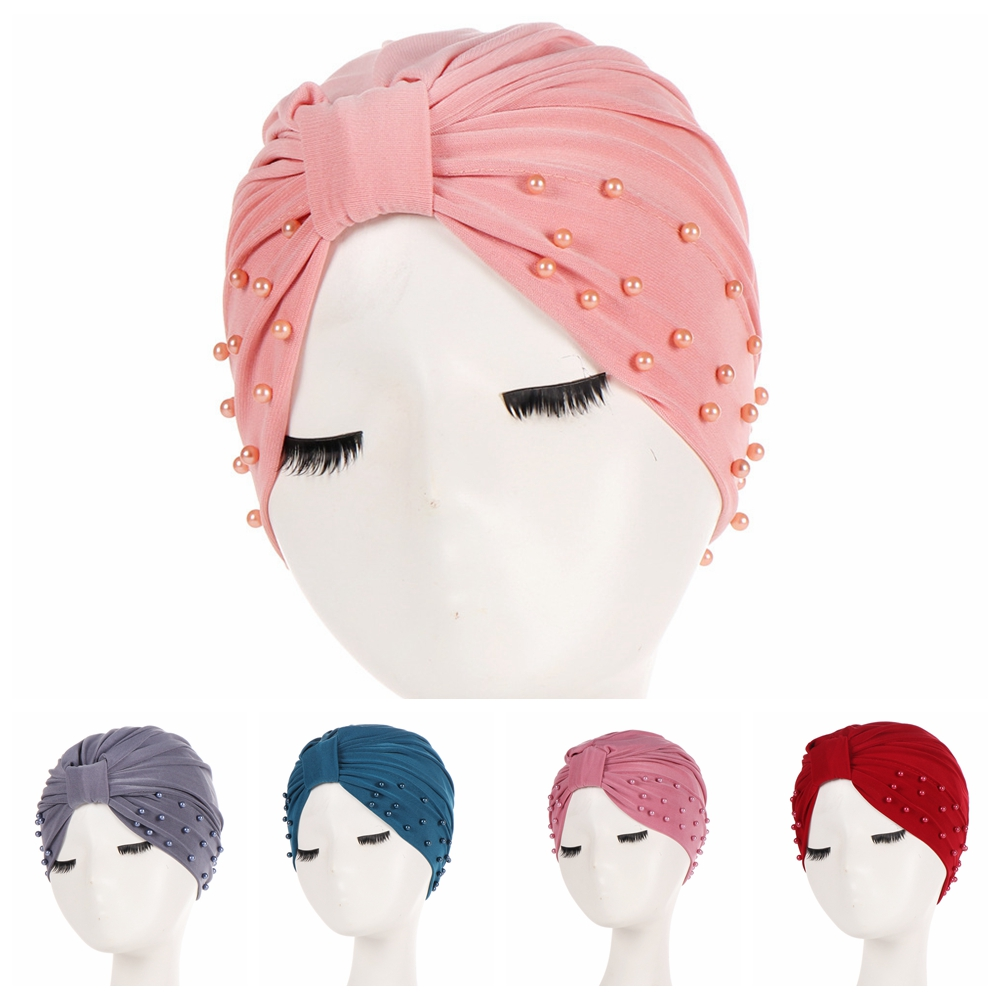 1PC Solid Fashion Women Cotton Beading India Ruffle Turban Elastic Muslim Hat Chemo Cap Headwrap Soft Sleeping Hat Beanie Hijabs