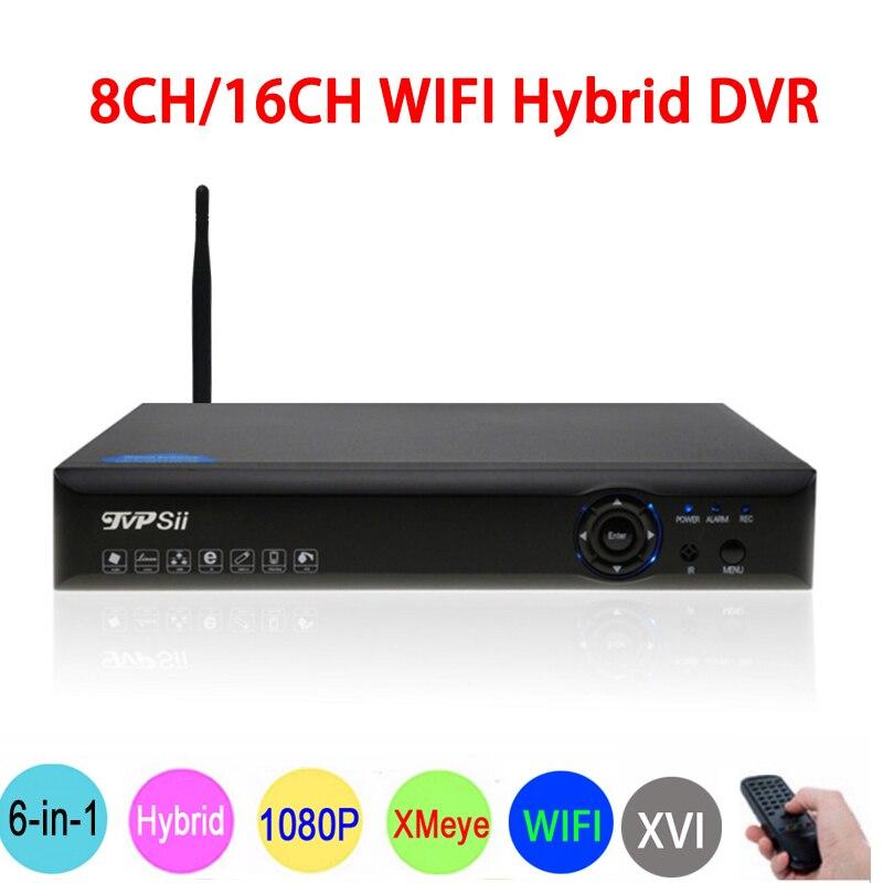 1080 p 2mp Caméra de Surveillance Bleu-Ray Hi3521A 1080N 16CH/8CH 6 dans 1 Wifi Coaxial Hybride XVI NVR CVI TVi AHD DVR Livraison Gratuite