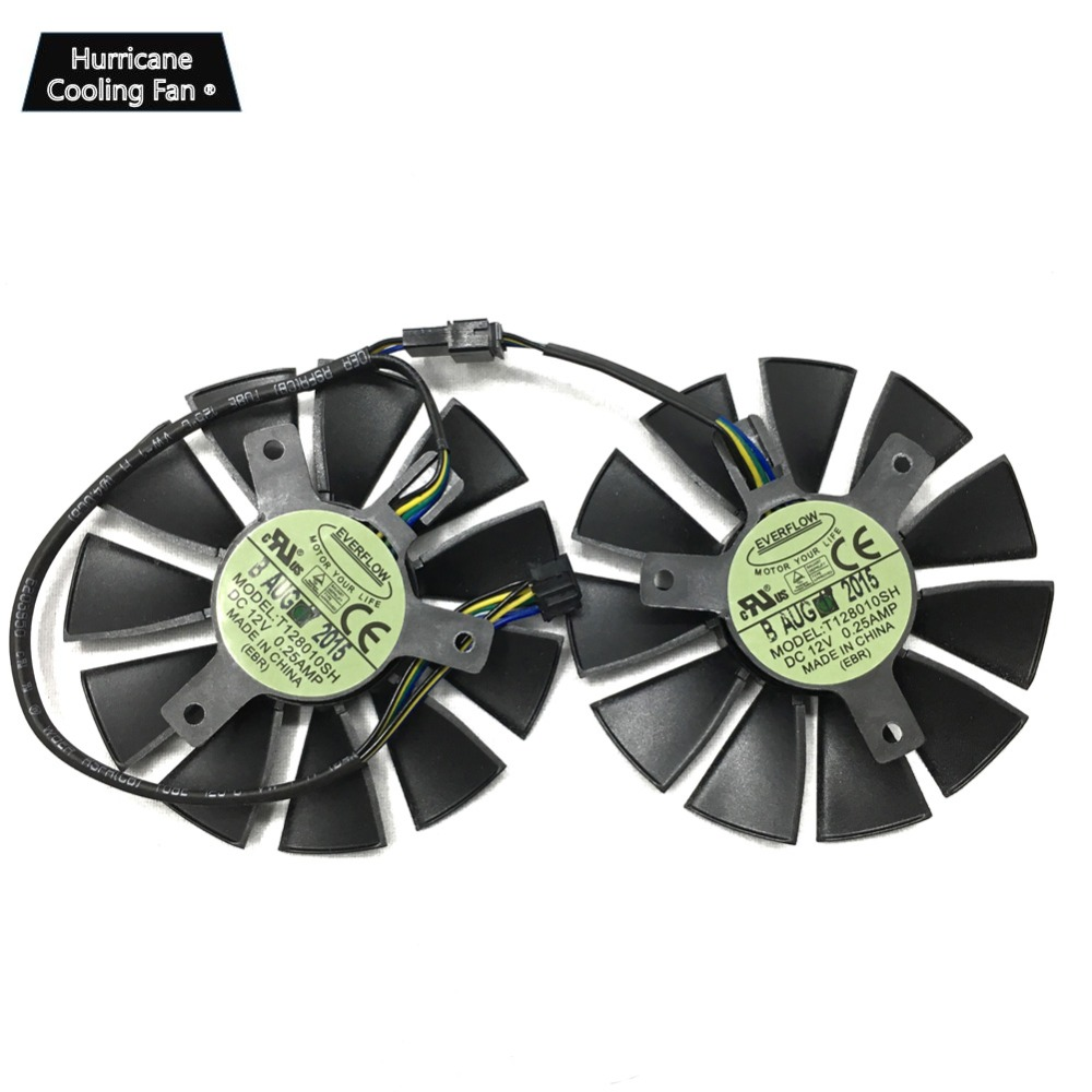 Video Cooling fan T128010SH 75mm DC 12V 0.25A for ASUS STRIX GTX1060 1050 GTX960 GTX950 GTX750Ti R9 370 image