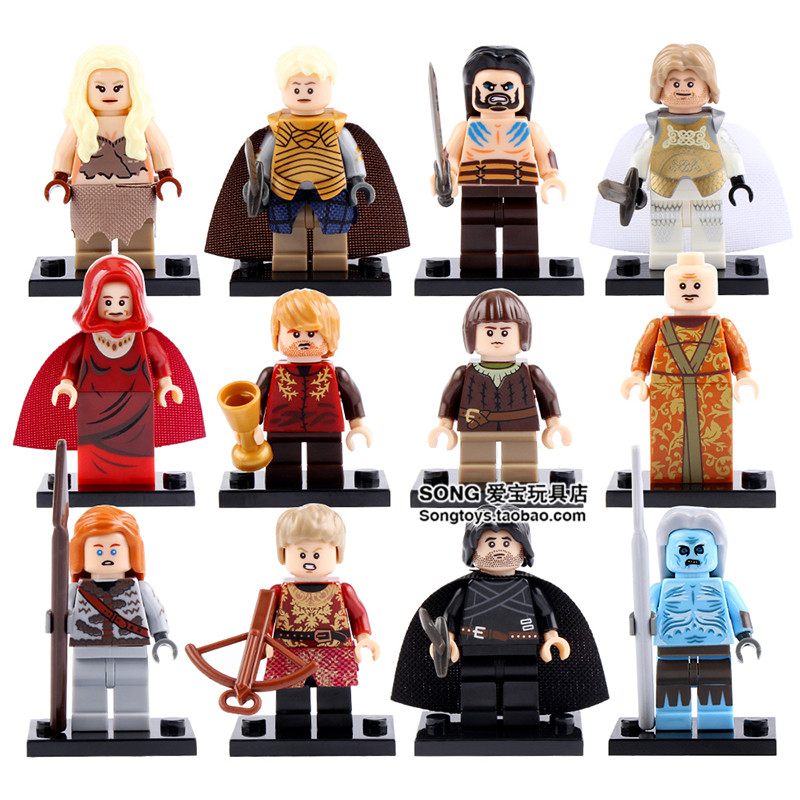 12pcs Game of Thrones Varys Brienne Ygritte Tyrion Lannister White Walker Joffrey Jaime Daenerys minifig DIY Blocks Toys Gifts game of thrones jon snow lannister daenerys keychain a song of ice and fire keys ring diy chain building blocks toys