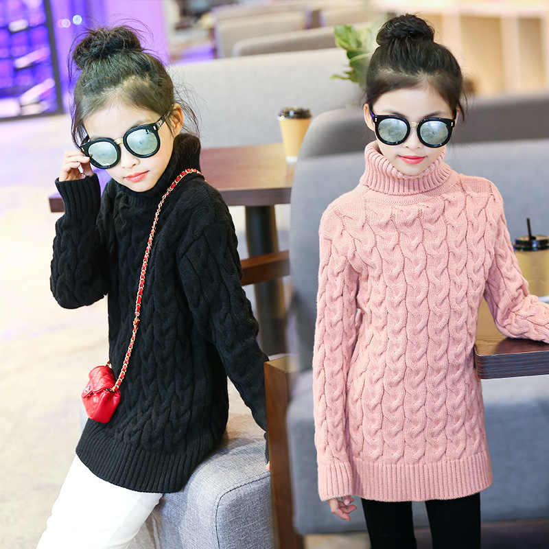 Girls Sweaters Autumn Winter Casual Solid Kids Sweaters Turtleneck Pullover Baby Girl Sweater 6 8 10 12 14 Y Children's Clothing