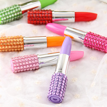 Free Shipping Cute Creative Lipstick Plastic Ball point Pen Kawaii Ball Pens For Kids Writing Gift Korean Stationery 1550