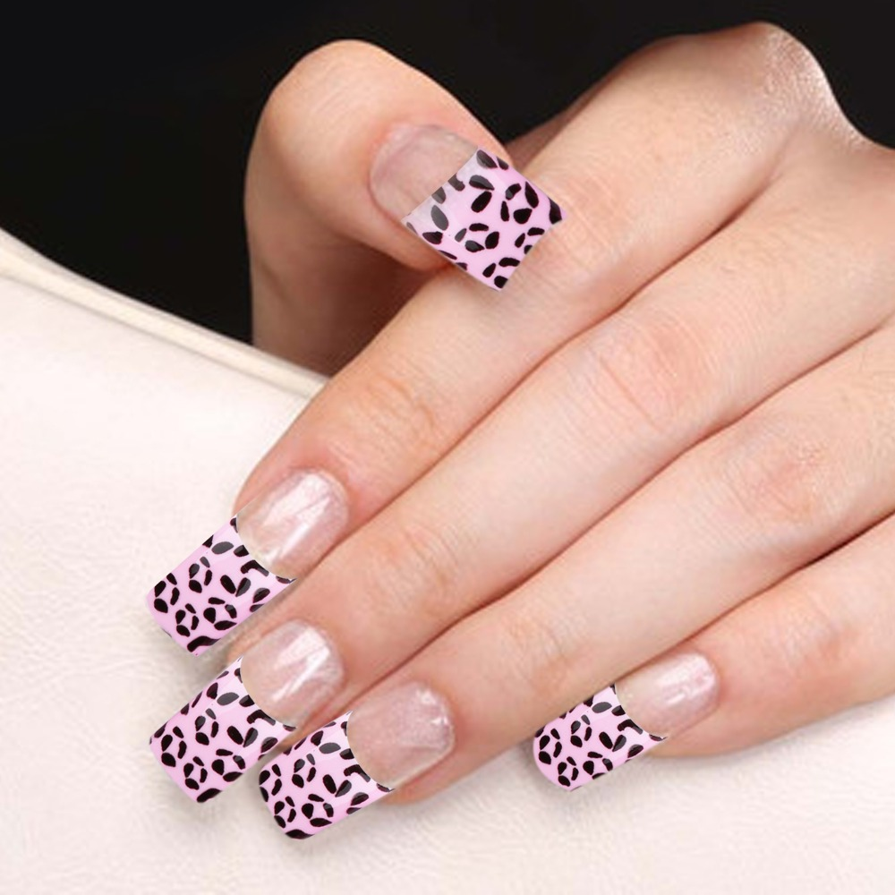 YaoShun 70 PCS Pre design French Acrylic False Nail Tips pink base ...