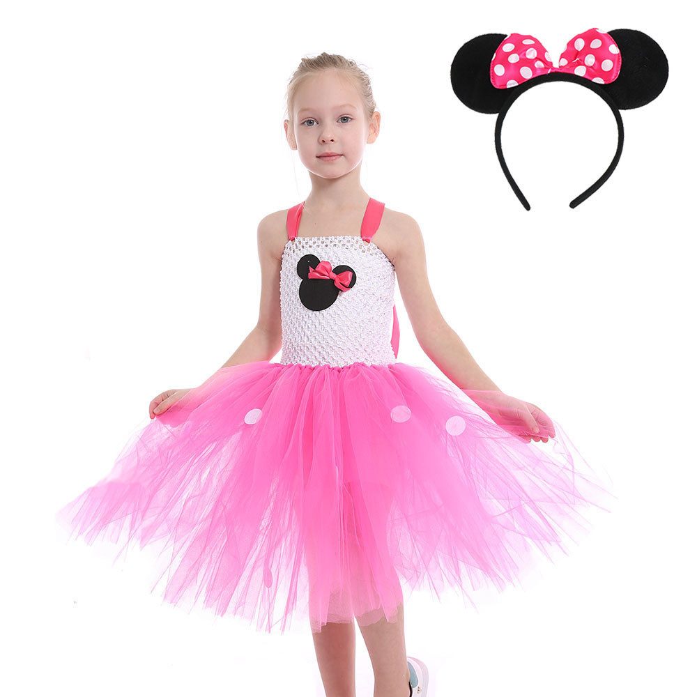 Girls Minnie Tutu Dress Sets Ballet Mouse Princess Halloween Cosplay Costume Dresses Polka Dot Dress+headband Bow Dress Vestidos