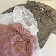 2016 Otoño Niña Volantes Blusa de Algodón y lino Suave Ropa para Bebé del Niño Ropas