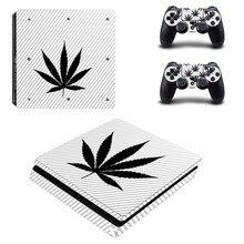 Adesivo de decalque para playstation 4 slim, adesivo branco puro e verde para controles de playstation 4 slim adesivo da pele