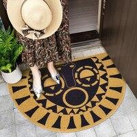 PVC Silk Loop Dust proof Mandala Printed Doormat Rug D Shape Cactus Outdoor Door Mats Shoes Scraper for Bathroom Area Rugs Black