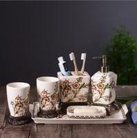 6 шт. Керамика Роскошные Аксессуары для ванной комнаты Наборы для зубной щетки мыльница дозатор чашки бутылочка для лосьона пара свадебный