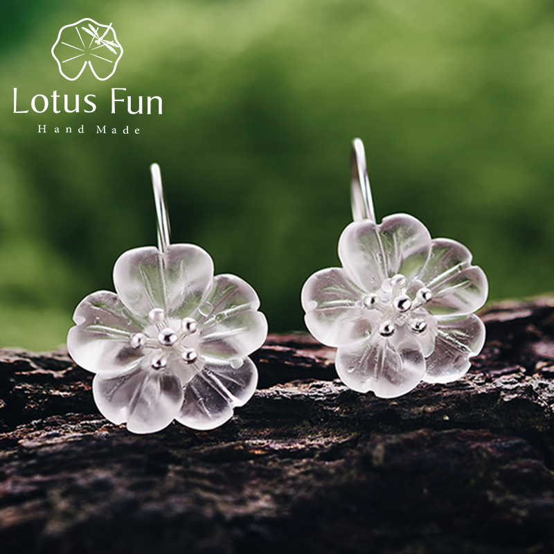 Lotus Enjoyable 925 Sterling Silver Earrings Handmade Pure Designer High quality Jewellery Flower In The Rain Trend Drop Earrings For Girls
