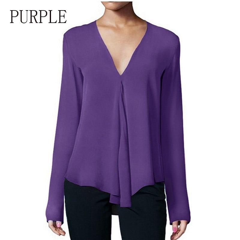 c77ef94facf10b Chiffon Deep V Neck Long Sleeve Women s Shirt Ruffle 2019 Spring Feminine  Blouse Elegant Blouses Woman Dropshipping Plus Size-in Blouses   Shirts  from ...