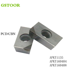 2pcs APKT1135 APKT160404 APKT160408 PCD CBN Milling cutter Turning Tool carbide inserts for CNC Lathe Milling