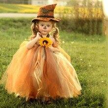 Vogelverschrikker Halloween Kostuum Zon Bloem Mid Calf Meisjes Jurk Voor Kinderen Heks Cosplay Halloween Tutu Jurk Vestidos Met Heksenhoed