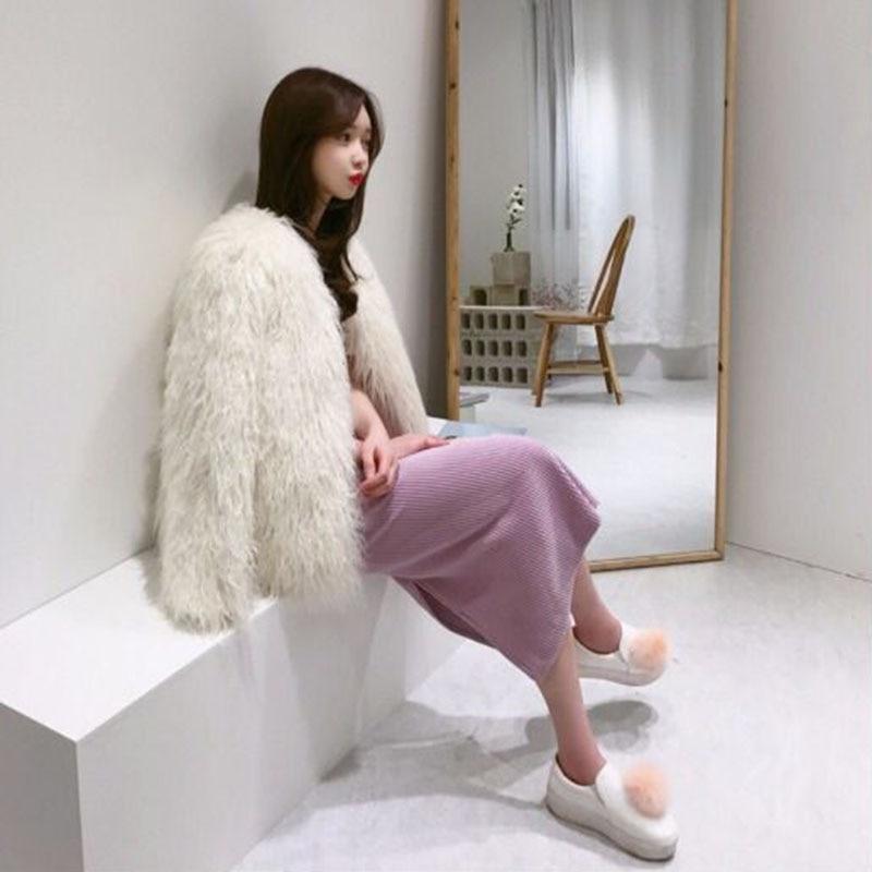 Pink Femmes milky Tempérament Chaud De Et Solide Light Veste Manteau Fourrure Nouveau D'hiver Mode Nuw285 2019 Fausse Élégant Couleur wTvXqC