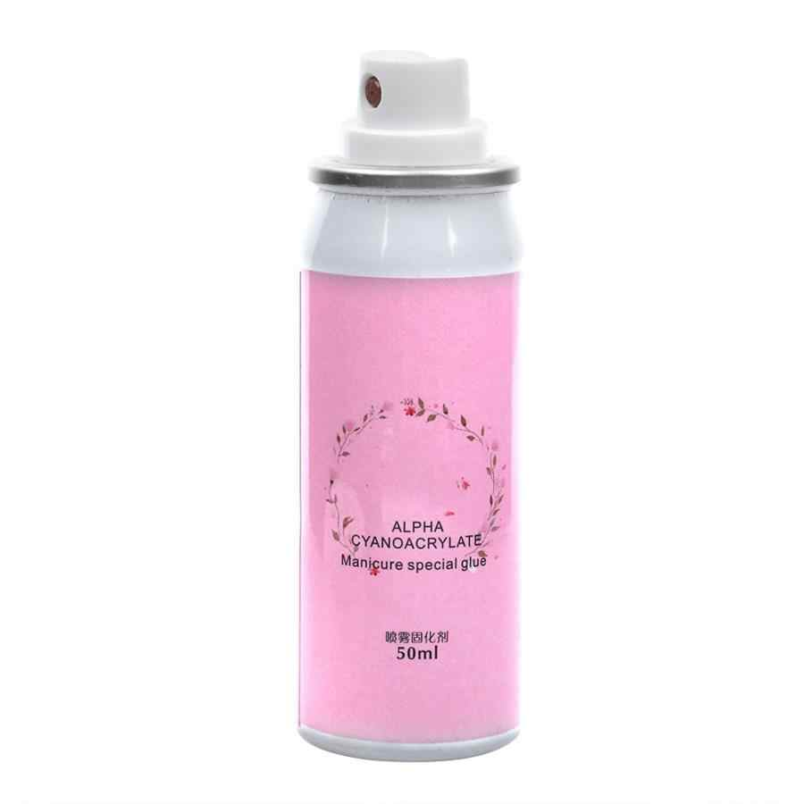 50ML Nail Art Glue Spray Curing Agent for Nail Jewelry Rhinestone Faux Pearl Nail Glue Curing Agent