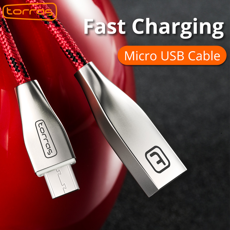 TORRAS 3D Zinc Alloy Micro USB Cable Fast Charge Charging Nylon Braided Data Usb Micro Cables For Samsung S7 Mobile Phone Cable