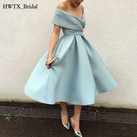 Simple Mother Of The Bride Dresses Tea Length Elegant A Line Satin 2018 Cheap Plus Size Prom Gown Cheap Cocktail Party Dress