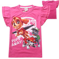 2016 New Patrol Dog Girl T-Shirt Fly Sleeves T-Shirt Printed Children Clothing Baby Girl Tops Pink YY1326
