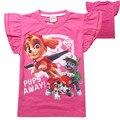 2016 Novo Cão de Patrulha T-Shirt Voar Mangas T-Shirt Da Menina Impresso Roupas Crianças Baby Girl Tops Rosa YY1326