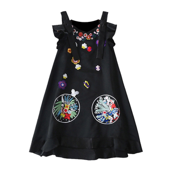 embroidery Design Maternity Dresses Black Sleeveless Dress For Pregnant Women Boat Neck Maternity Clothes Christmas Gift Z783