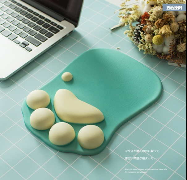 3D Mouse Pad Soft Silicone Cat Paw shape Wrist Rests Memory Foam Comfort Cushions Mousepad for kids Gaming notepad Computer ...