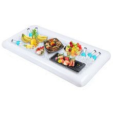 Portable Inflatable Ice Cooler Serving Bar Salad Buffet Picnic Drink Table Party Camping Tables White PVC Healthy 400g EN 71 cheap Outdoor Furniture Outdoor Table Self-contained Minimalist Modern MAGIC UNION HH4271 Rectangle 134X64CM 134*64cm Salad Table