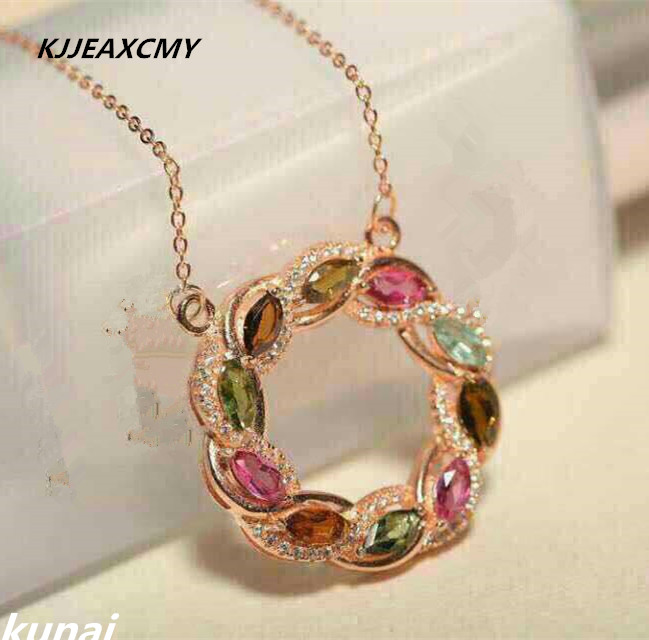 KJJEAXCMY boutique bijoux, Coloré bijoux naturel tourmaline chaîne chaîne 925 pendentif en argent collier Coréen