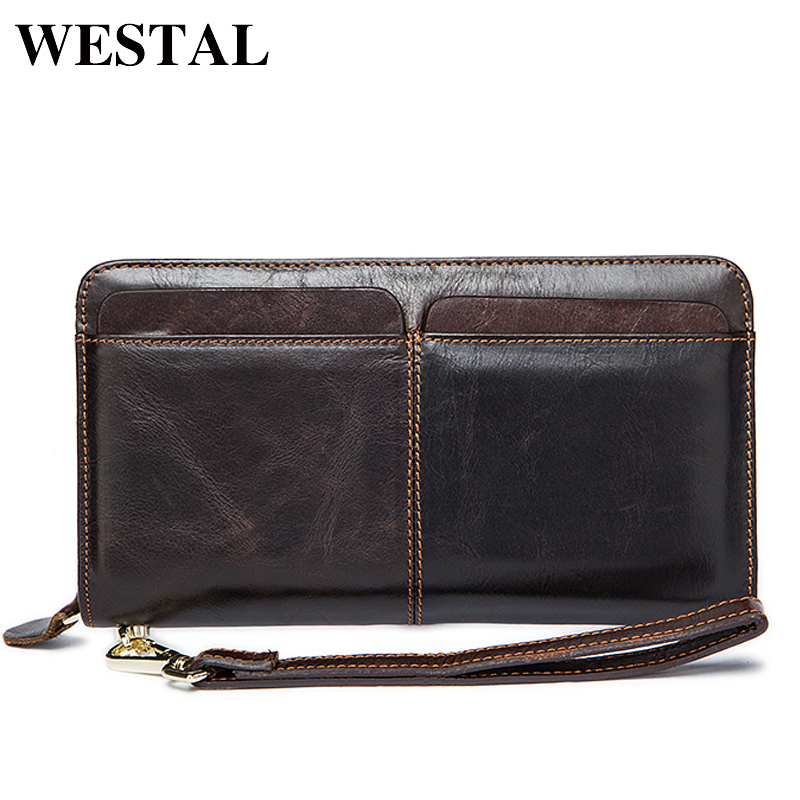 WESTAL Men Wallets Genuine Leather Wallets Clutch Male Purse Long Wallet Men Clutch Bag Phone Card Holder Coin Purse Men 9020 p kuone men s clutch wallet luxury shining oil wax cowhide men clutch bag man long genuine leather wallets male coin purse bags