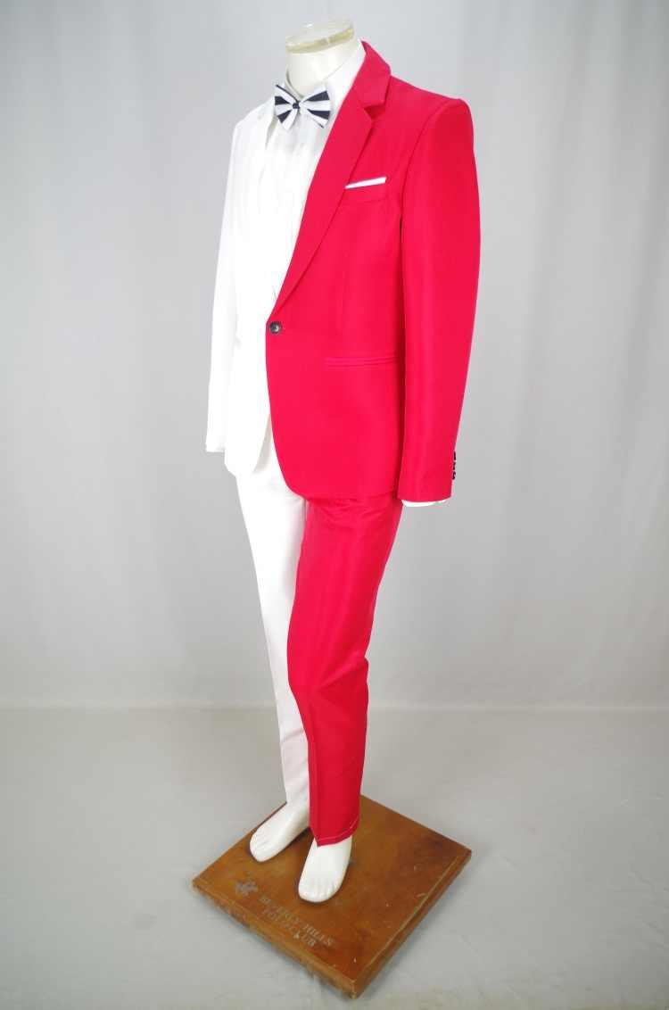 2019 赤白のステッチメンズスーツマジシャンピエロのパフォーマンスステージ衣装ナイトクラブの男性歌手ホスト衣装結婚式の服