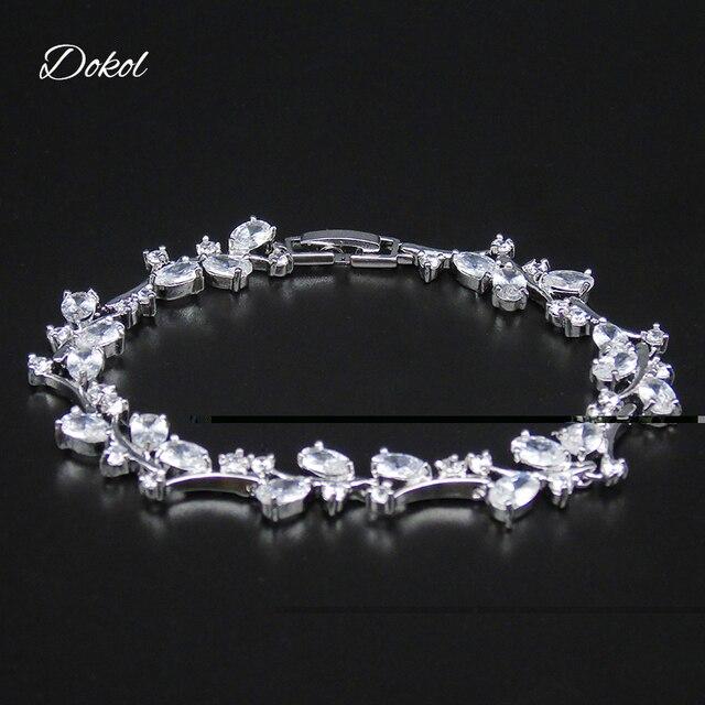 0f1462a898b2 DOKOL elegante Hada boda pulseras Color plata claro AAA + CZ piedra mujer pulsera  para novia