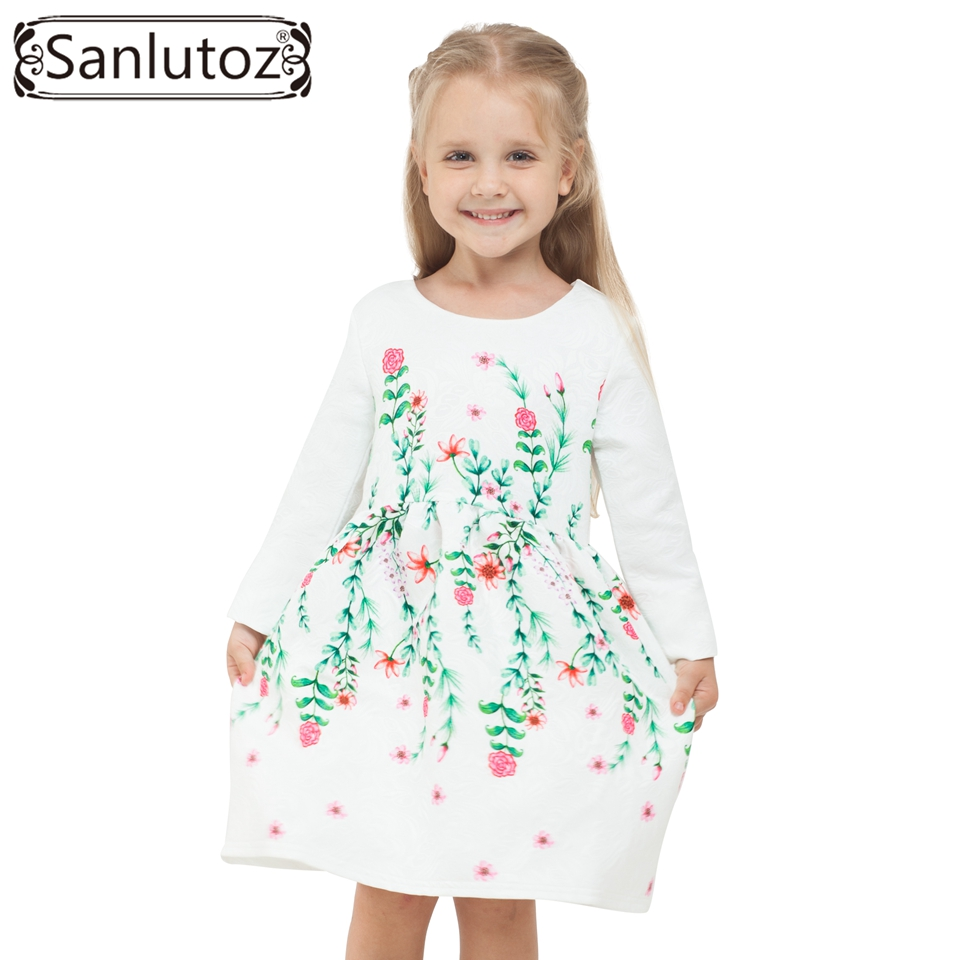 Winter Girls Dress Flower 2016 Children Clothing Kids Girl Clothes Brand for Princess Holiday Party Wedding Toddler Autumn 3 12year wedding dress baby kids girl clothes children clothing girls cute princess party dress winter dresseses causal dress