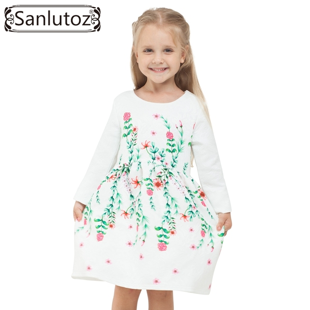 Winter Girls Dress Flower 2016 Children Clothing Kids Girl Clothes Brand for Princess Holiday Party Wedding Toddler Autumn