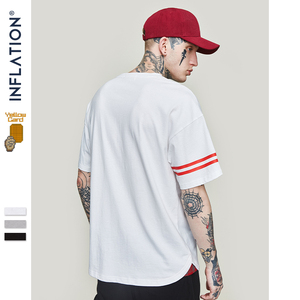 INFLATION Sleeve Stripe Basic Tee Homme Men Clothing 2020 Summer Short Sleeve Cotton T-shirt O-neck Brand Tshirt 91162S