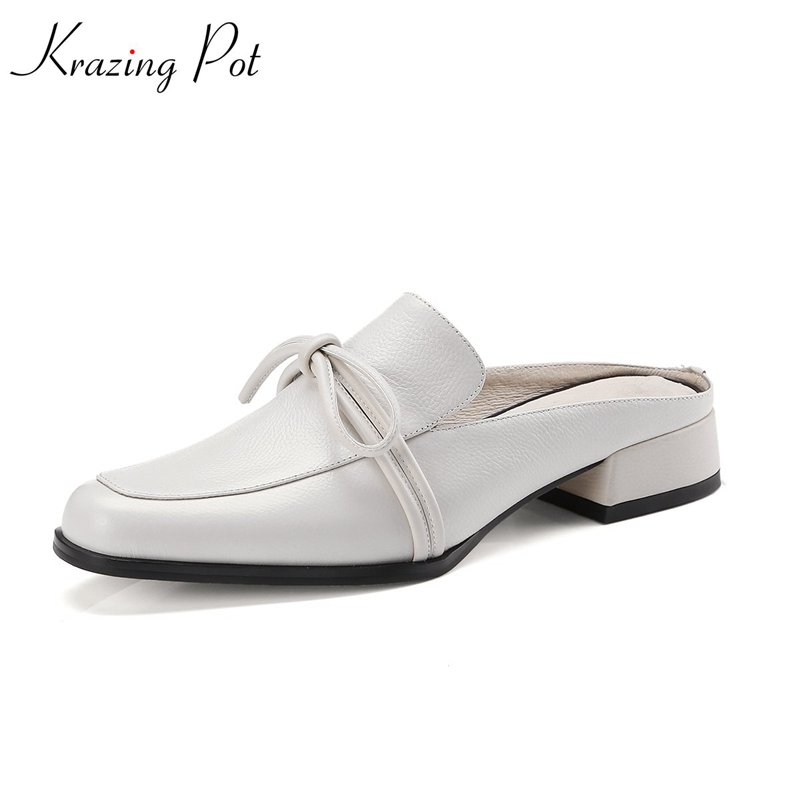 Krazing Pot shallow new classics cow leather solid bowtie slingbacks shoes streetwear square toe low heels cozy women pumps L43 gunsafe bs924 l43