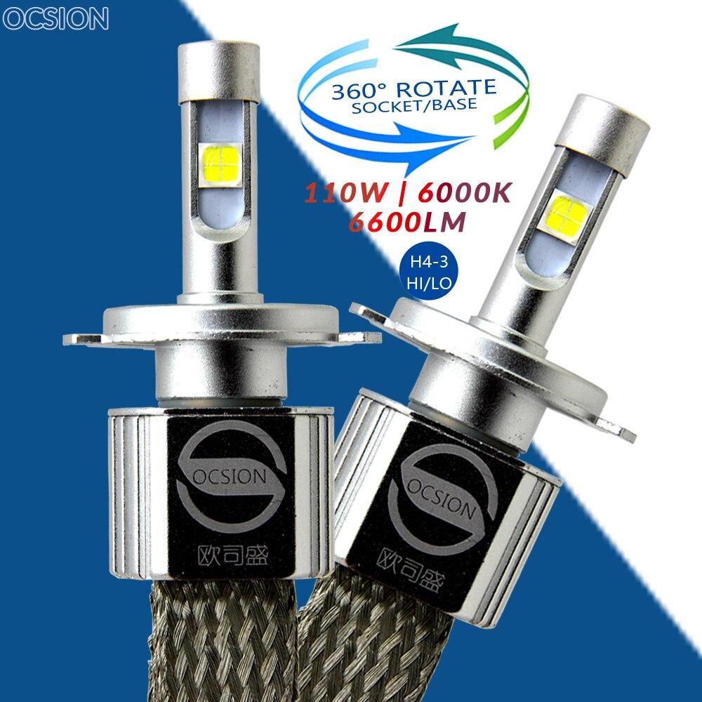 P70 Voiture H4 ampoules de phares LED Salut Lo Ampoule Moto Phares 6000 k Moto Lampe 55 w 6600lm XHP-70 Lampes H7 H11 9005 9006