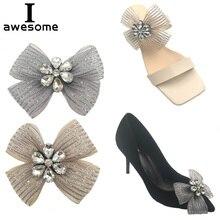 цена на Shoe Decorations Ribbon Bowtie Bridal Wedding Party Shoes Accessories For High Heels sandals Boots DIY Rhinestone Shoe's flower