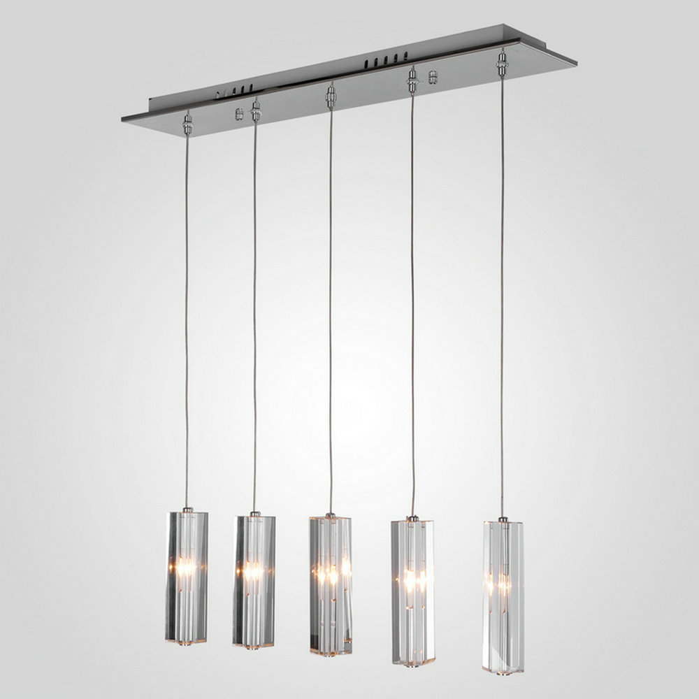 MAMEI Free Shipping 5 Lights Modern Pendant Lamp For Dinner Room Height Adjustable With Cylinder K9 Crystal Decoration