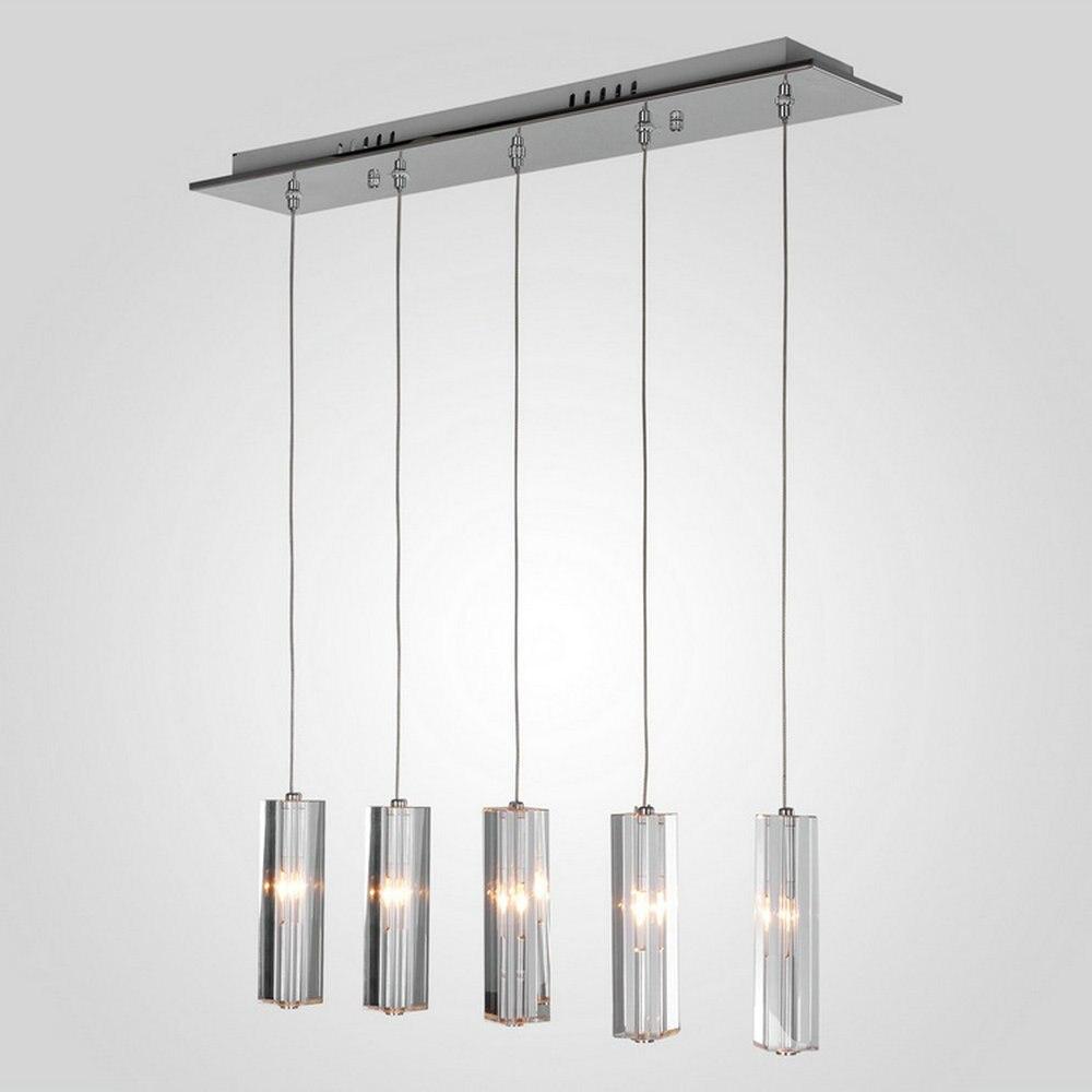 Mamei gratis verzending 5 lights moderne hanglamp voor diner room hoogte verstelbare met cilinder k9 kristal
