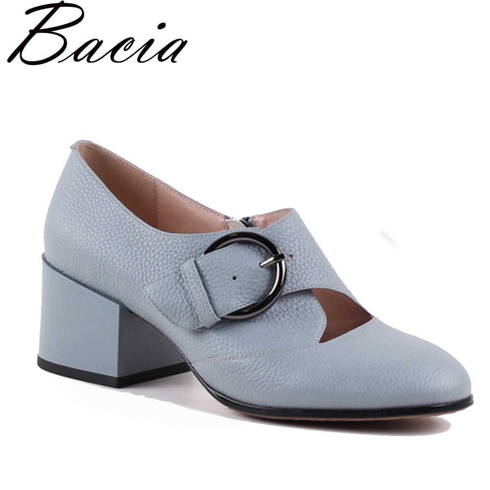 3762f055188d Bacia/новые туфли-лодочки синего цвета с ремешком и пряжкой на каблуке,  повседневная ...