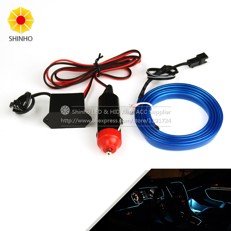Auto Car Interior LED EL Wire Rope Tube Line flexible neon light glow el salon flat led strip Pathway Lighting cigarette lighter image
