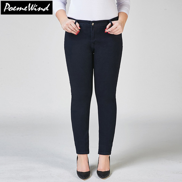 PoemeWind Plus Size High Waist Skinny Denim Jeans Women Long Elastic Stretch Casual Pencil Pants Jeans Trousers Woman 42 40 6xl