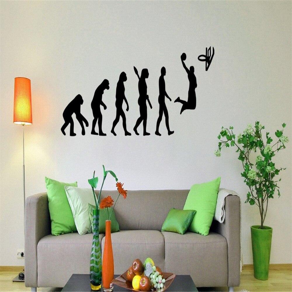 Basketball evolution wall decal ball game vinyl sticker sport home interior wall murals wall vinyl graphics wall sticker