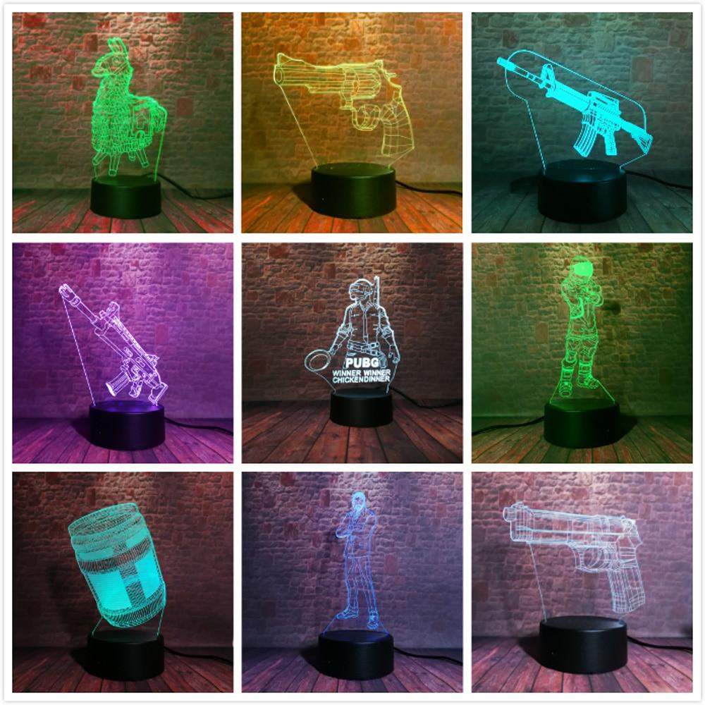 Souvenir Gift Llama Game Fans World Hot PUBG FPS SCAR-L Rifle Battle Royale Dark 7 Color Change 3D Lava Night Light For Boy Man