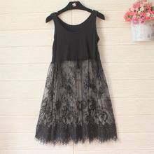Korean Autumn Winter Women Lace Dress Black White Casual Sexy Sleeveless Mesh lace See Through Beach Basic Bottoming Dresses(China)