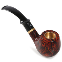 Small Concave Sandalwood Pipe Wood Hand made Classic Wood Grain Old fashioned Dual purpose Wood Pipe