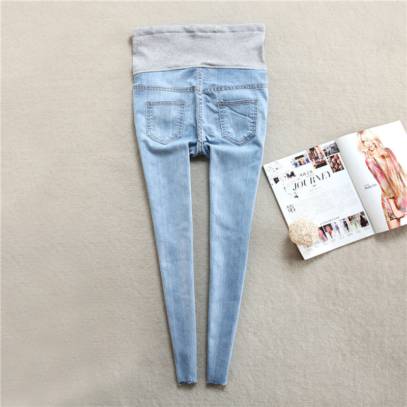 f0d89ec10c707 Hole Denim Jeans Maternity Jeans For Pregnant Women Maternity Clothes  Skinny Pregnancy Jeans Pants Belly Gravidas Pencil Pants-in Jeans from  Mother & Kids ...